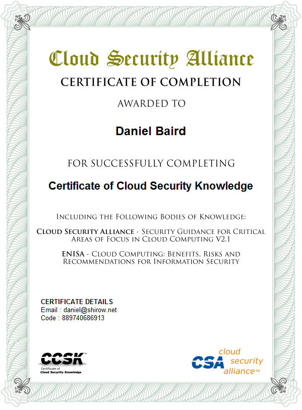 Outside the Asylum » Blog Archive » Certificate of Cloud Security ...